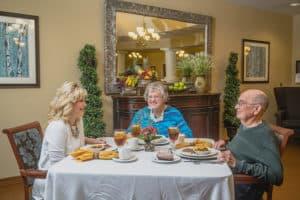 residents enjoying dinner