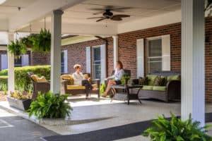 family visting on patio
